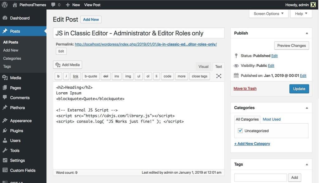 Adding JavaScript using the Classic WordPress Editor