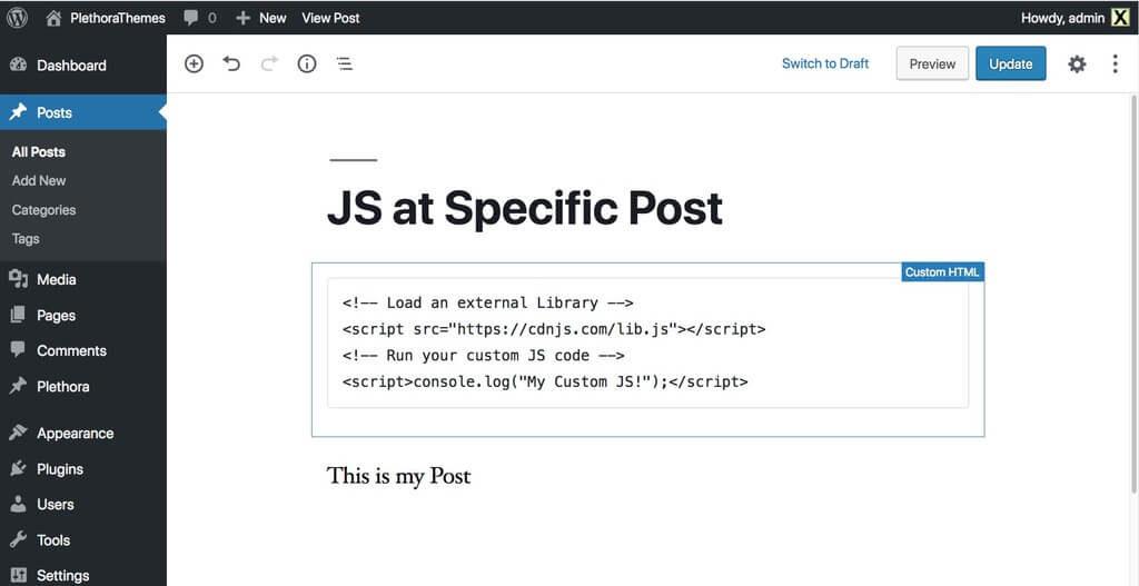 Adding JavaScript using the WordPress Gutenberg Editor