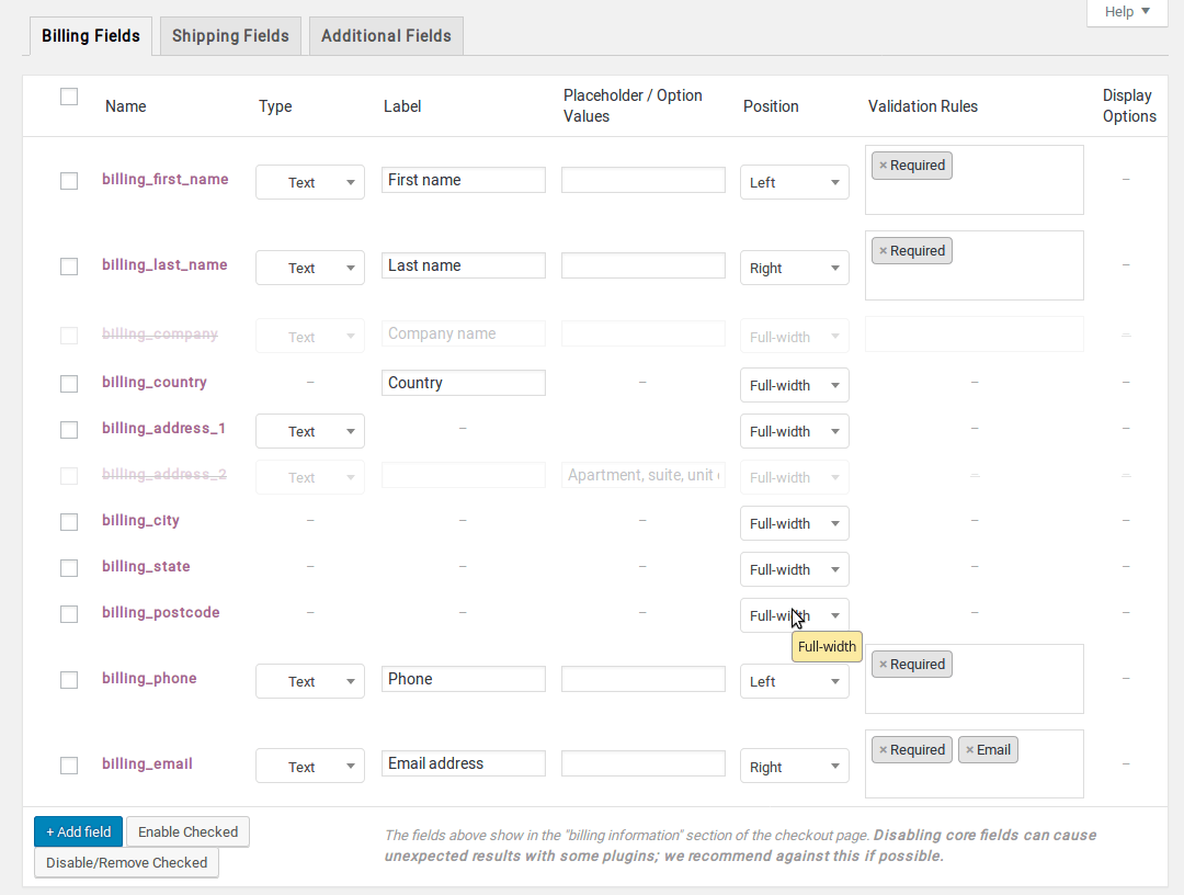 Checkout Field Editor Plugin - Plethora Themes