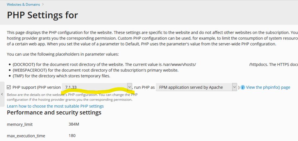 pleskdesk-php-selector